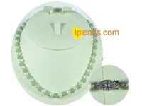 6-7mm white potato freshwater pearls with 7mm green jade necklac