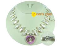 White freshwater biwa and potato pearl necklace from China