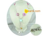 freshwater top drilled jewelry pearl necklace with shell&crystal
