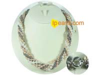 cute twisted freshwater pearl necklace on wholesale