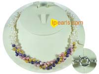 multi-color three twisted freshwater pearl strands necklace
