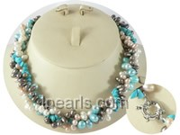 twisted freshwater pearl necklace with turquoise