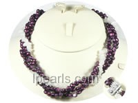 four twisted strands freshwater pearl necklace with crystal bead