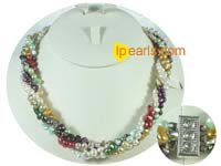 four strands twisted nugget pearl necklace wholesale