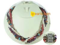 4 twisted strands pearl necklace mixing multi stones