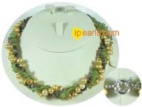 yellow pearl necklace with olivine stone and tourmaline beads