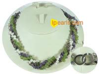 6-7mm white potato pearl necklace with gemstone bead