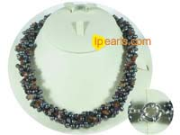 side-drilled black pearl necklace with tourmaline beads