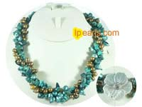 topdrill and blister necklace with turquoise beads