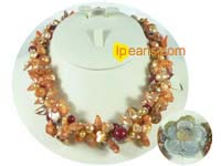 red and yellow blister pearl necklace-3 twisted strands