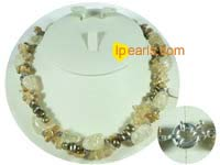 freshwater smooth on both sides pearl necklace with keshi pearls