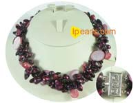 4 strands biwa and blister pearl necklace with shell beads