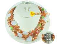 freshwater top-drill and blister pearl necklace