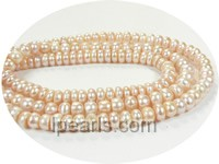 7-8mm pink button shape freshwater pearl strand