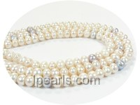 7-8mm white button shape freshwater pearl strand