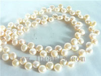 wholesale 6-7mm natural pink color bread pearl strand