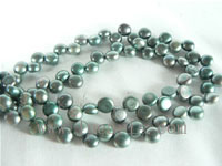 6-7mm peacock green color bread freshwater pearl strand