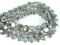10mm freshwater coin pearl strands in peacock blue color