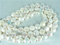 10mm natural white freshwater coin pearl strands on wholesale