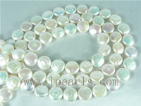 10mm natural white freshwater coin pearl strands
