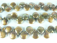 12mm freshwater coin pearl strands in coffee color