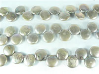 12mm freshwater coin pearl strands in darkgrey color