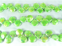 12mm freshwater coin pearl strands in green color