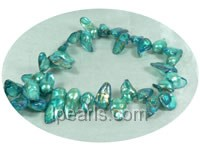 turquoise 10*15mm blister pearl strands with gold color stripes