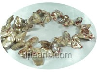 flower printed 12*25mm blister freshwater pearl strands