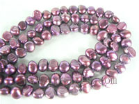 6-7mm smooth on both sides pearl strands in deep purple color