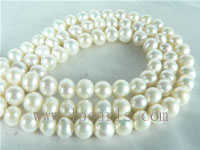 6-7mm natural white freshwater potato pearl strands from China