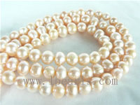6-7mm natural pink freshwater potato pearl strand on wholesale