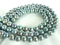 6-7mm peacock green freshwater potato pearl strands