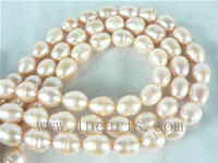 10-11mm natural pink freshwater rice pearl strands on wholesale