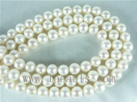 6-7mm natural white round freshwater pearl strands on wholesale