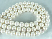 10-11mm natural white round freshwater pearl strands