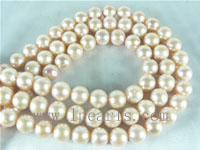 10-11mm natural pink round freshwater pearl strands on wholesale