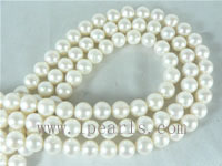 9-10mm natural white freshwater round pearl strands on wholesale