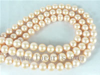 9-10mm natural pink freshwater round pearl strands on wholesale