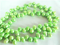 7-8mm green color top drilled freshwater pearl strands