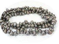 5-6mm light black top drilled freshwater pearl strand