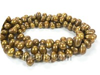 6-7mm yellow top drilled freshwater pearl strand