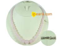 fashion 6mm to 14mm different sizes of pink jade necklace