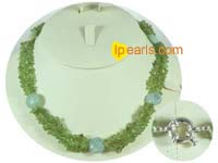 wholesale fashion green detritus necklace with 9mm bowlders