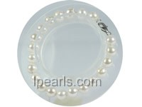 wholesale 7-7.5mm white round akoya pearl bracelet
