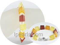 wholesale 5-6mm potato pearl bracelet with 13mm amber