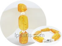 5-6mm potato pearl bracelet with 17mm amber