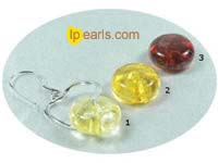 heart shape sterling silver dangling earrings with 5x12mm amber