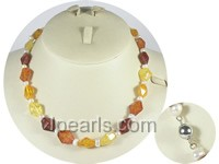 amber beads and 5-6mm potato pearl necklace