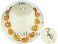 amber beads and 5-6mm potato pearl necklace wholesale